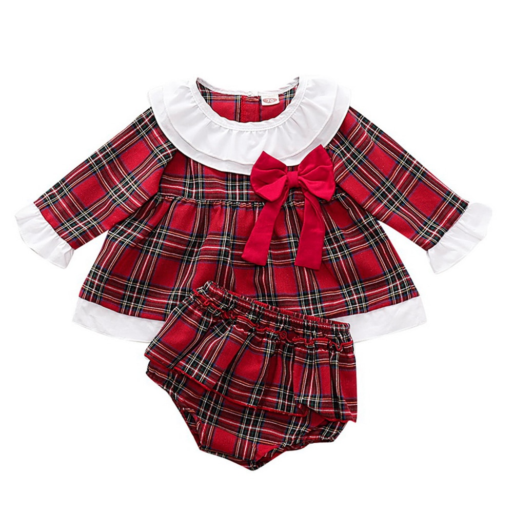 Newborn Baby Girls Clothes Ruffles long Sleeve red plaid Dress Tops +Shorts Bottoms Outfit Set princess christmas dresses D30