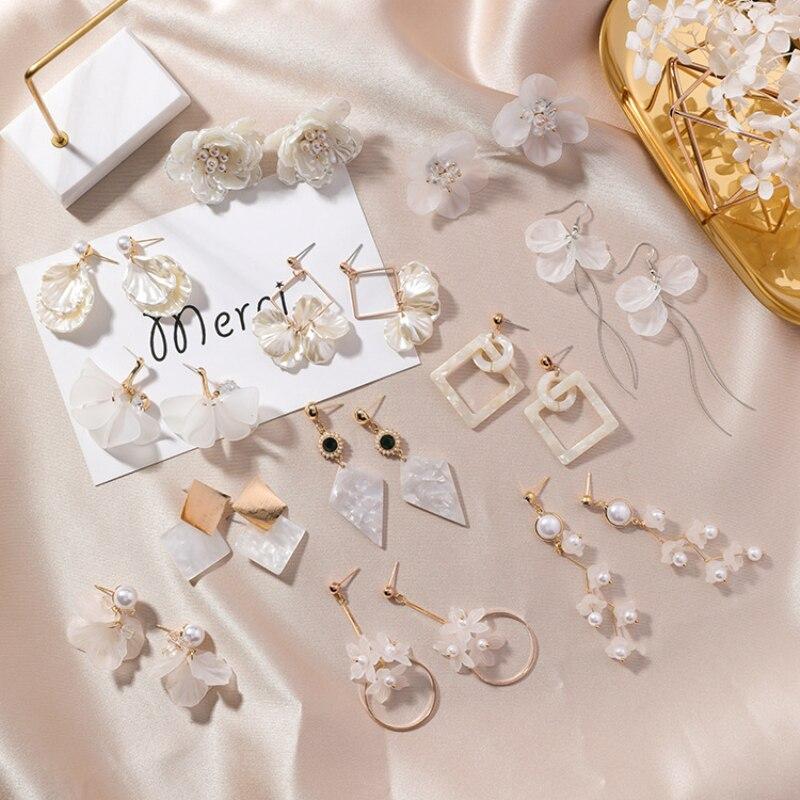 Simples bonito concha pequenos brincos geometria triângulo redondo longo borla brincos para moda feminina acessórios jóias