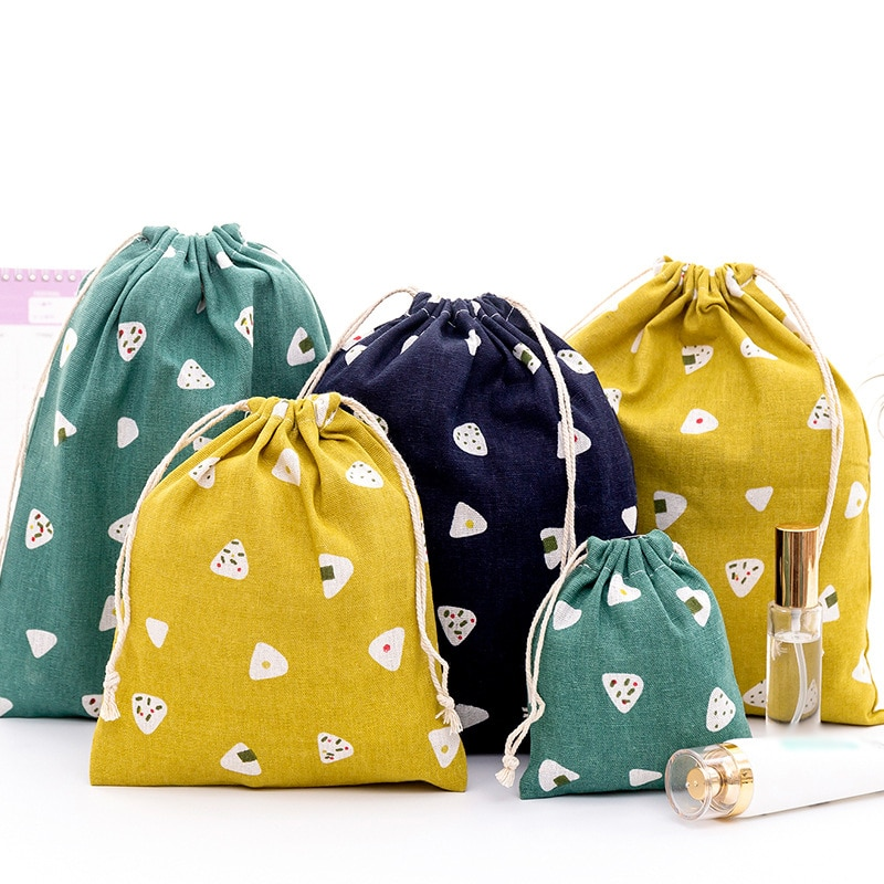 Casual Cotton Drawstring Shopping Bag Eco Reusable Folding Grocery Cloth Underwear Pouch Case Travel Organizer Bag