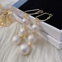 fashion long tassel pearl pendant earrings for women new geometric drop earring bohemian trend handmade jewelry new