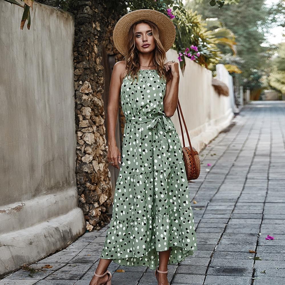 aliexpress - Long Dot Vacation Style Print Dress Women Lace Up High Waist O Neck Big Swing Dress New 2021 Fashion Summer Sleeveless Dress