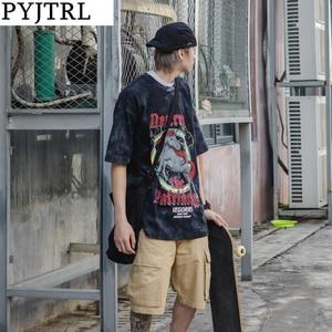PYJTRL Men Fashion T-shirt Male Street Students Hip-hop Casual Loose Lovers Short-sleeved Shirt