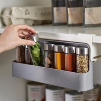 storage box seasoning bottle holder wall mounted self adhesive pp under cabinet spice rack organizer easy to install for kitchen
