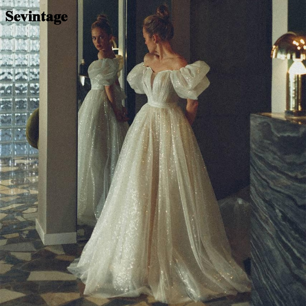 Sevintage-vestidos de novia de tul brillante, mangas abombadas, cuello en V, manga...