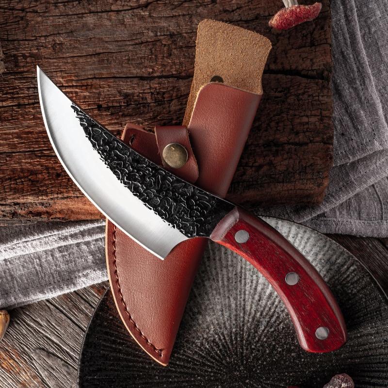 Liang Da, cuchillo de acero de deshuesar forjado de alto carbono, cuchillos de cocina hechos a mano, cuchillo de pesca, cuchillo de carnicero, herramienta de cocina de acampada al aire libre