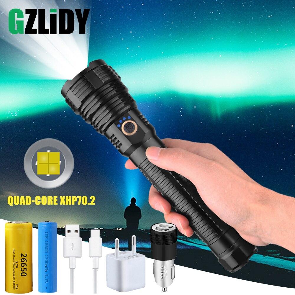 Potente linterna LED XHP70.2 recargable por USB, linterna táctica resistente al agua con pantalla de potencia, Zoom telescópico, luz de exterior