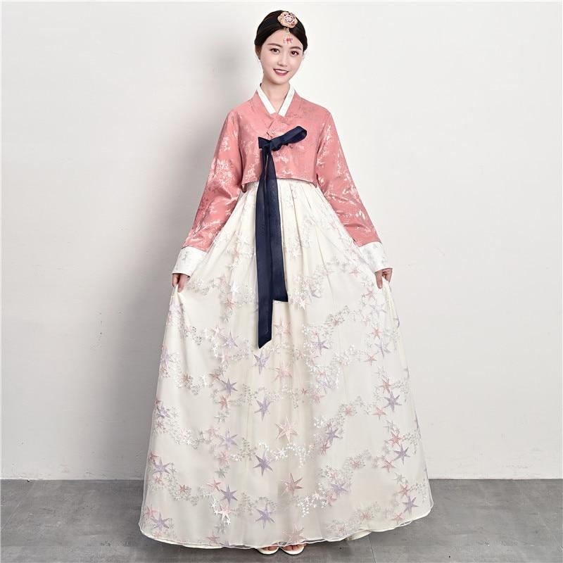 الكورية التقليدية الشعبية زي السيدات الهانبوك الرقص أداء زي الربيع الخريف تنورة الاحتفال فستان مطرز