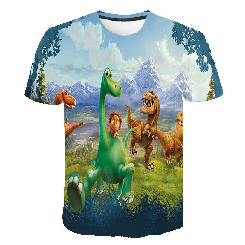 Cartoon Dinosaur Series T Shirt 4 to 14 Ys Baby Boys Tshirt Animal Wolf Printed Kids Clothing Girls Tops Tees Children Clothes
