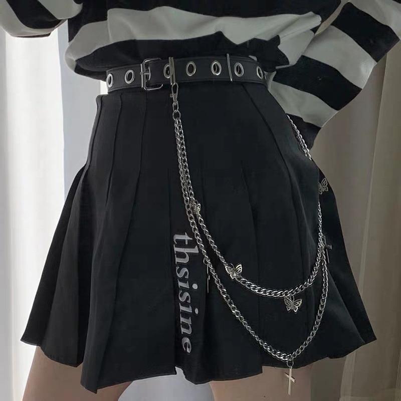 POPACC Punk Rock Metal Pants Waist Chain Men and Women Double Butterfly Cross Pants Chain Jeans Chain Hip Hop Jewelry Gift