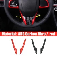 for honda civic 10th 2016 17 2018 car steering wheel button frame cover protector accessories car styling abs carbon red 2pcs