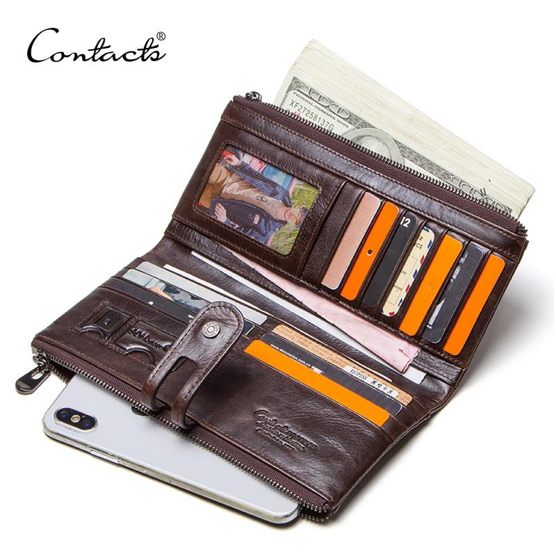 Bolso de mano para hombre de contact, gran oferta, de piel auténtica cartera larga, monedero masculino con cremallera, monedero para iphone8 portemonnee, cartera para hombre