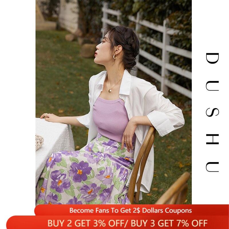 دوشو 100% القطن المرأة الفرنسية الرجعية المطبوعة تنورة عالية الخصر 2021 الصيف جديد لطيف الأرجواني تنورة طويلة الملابس