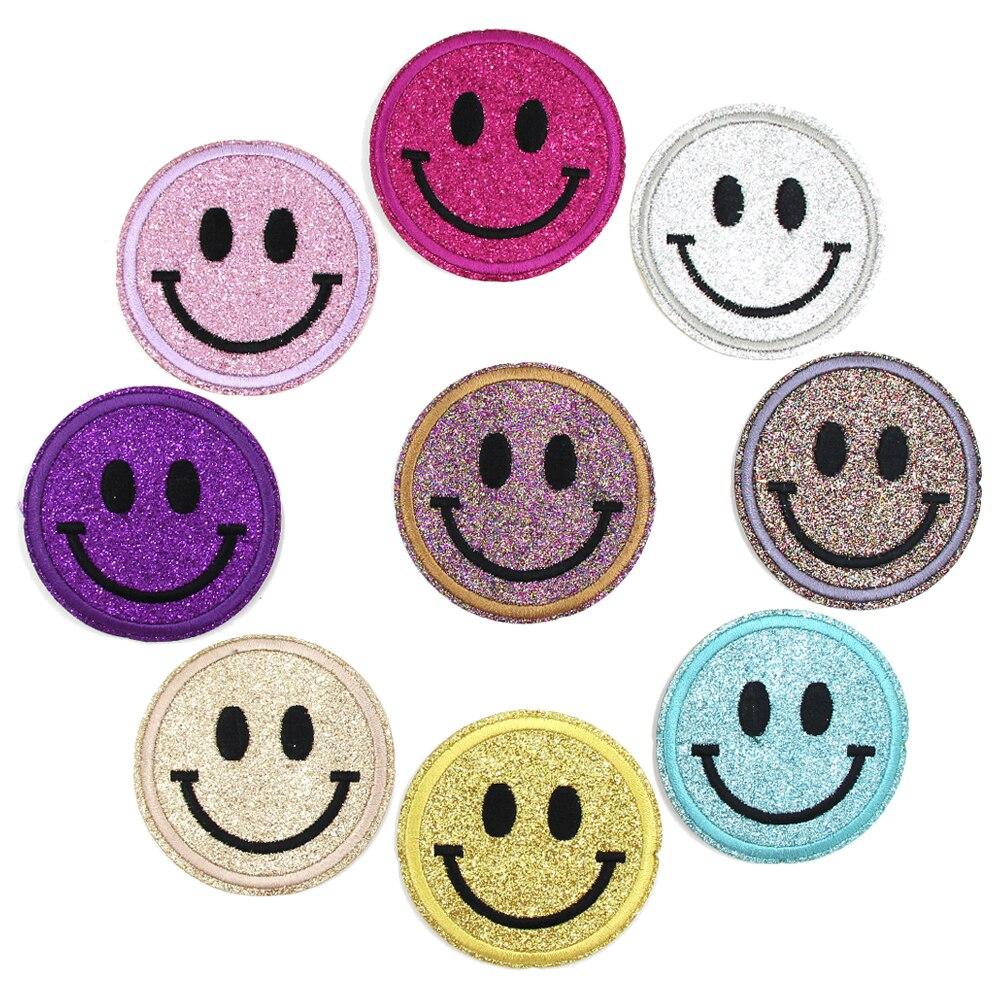 9 pçs/lote sorriso remendos multi-color sorriso rosto bordado remendos de ferro em remendos glitter applique redondo distintivo para roupas diy