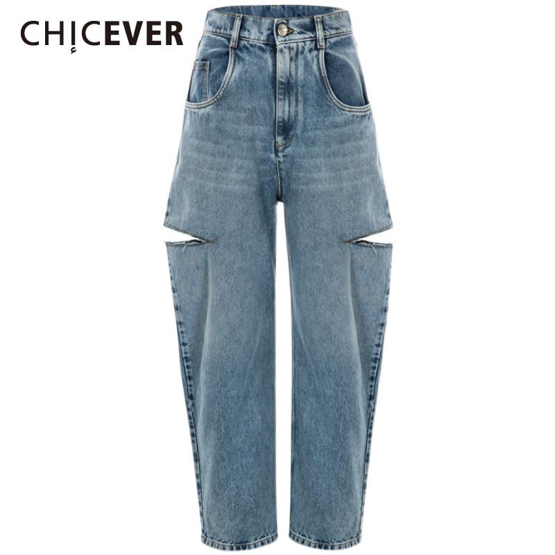 CHICEVER الكورية موضة الأزرق هول الدينيم المرأة بانت عالية الخصر كامل طول واسعة الساق فضفاض الجينز للنساء 2021 الخريف الملابس
