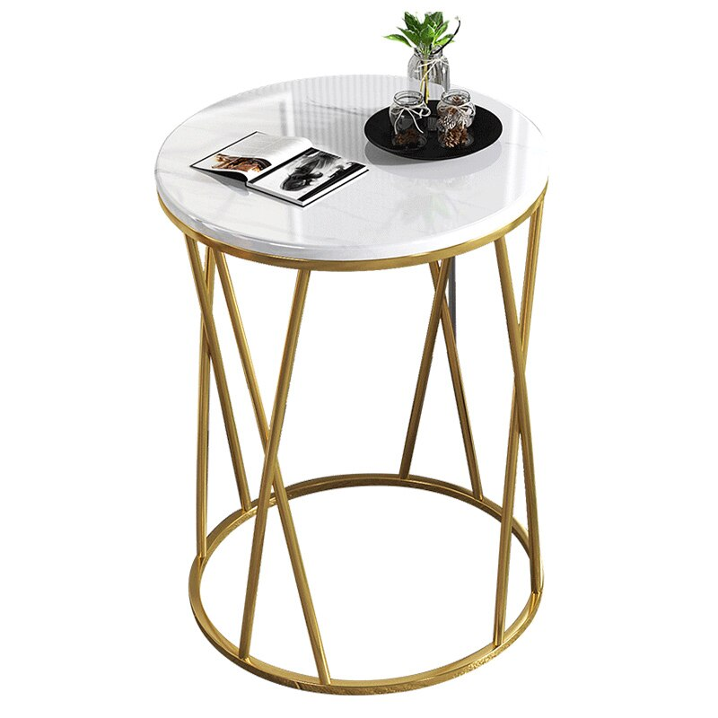 Simple Nordic Light Luxury Coffee Table Sofa Corner Table Bedside Bedroom Marble Pattern Small Round Table Side Tables Furniture