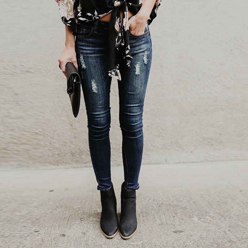 Novio Streetwear Jeans ajustados Jeans niñas para mujeres algodón 2019 agujero largo verano cintura rasgado pantalones otoño ropa Denim Mid