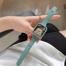 Funda + correa de silicona para Apple Watch, banda de goma de 44mm, 40mm, 38mm, 42mm, pulsera iWatch serie se 3 4 5 6, correa de reloj delgada