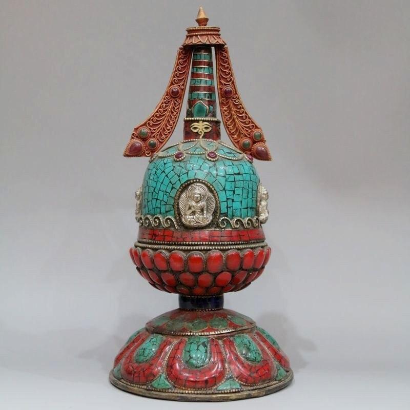 Feito de Cobre Tibetano com Incrustacias de la Biblia Giratoria Budista Turquesa Artificial