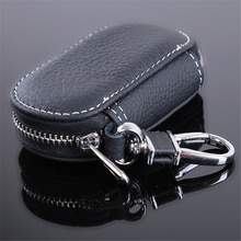 Leather Car Key Wallets Men Key Holder Housekeeper Keys Organizer Women Keychain Covers Zipper Key C