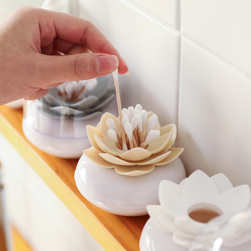 Cotton Swab Holder Flower Design Storage Container Toothpicks Organizer Tube with Dust Cover