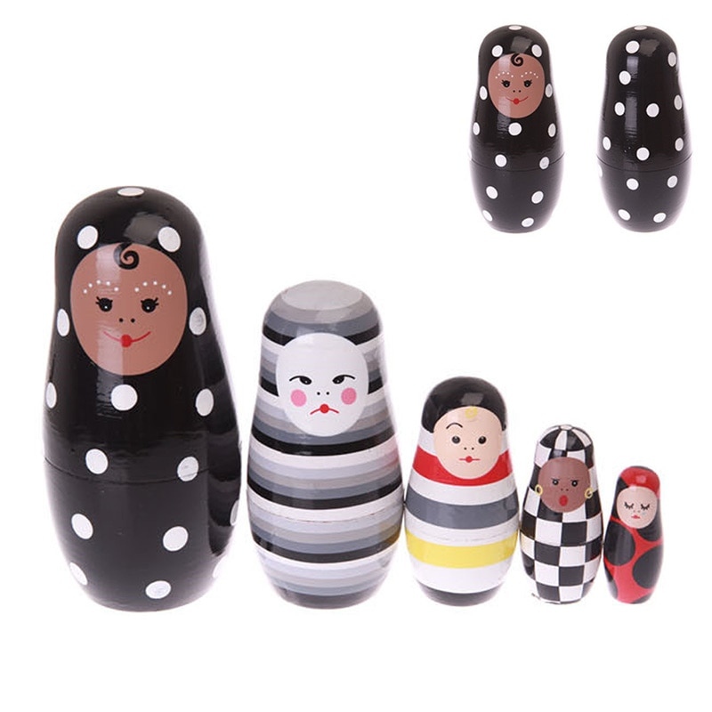 5pcs/ Set Wooden Russian Matryoshka Doll Nesting Dolls Girls/Clown Glaze Toys Home Decor Handmade Crafts Kids Gifts AN88