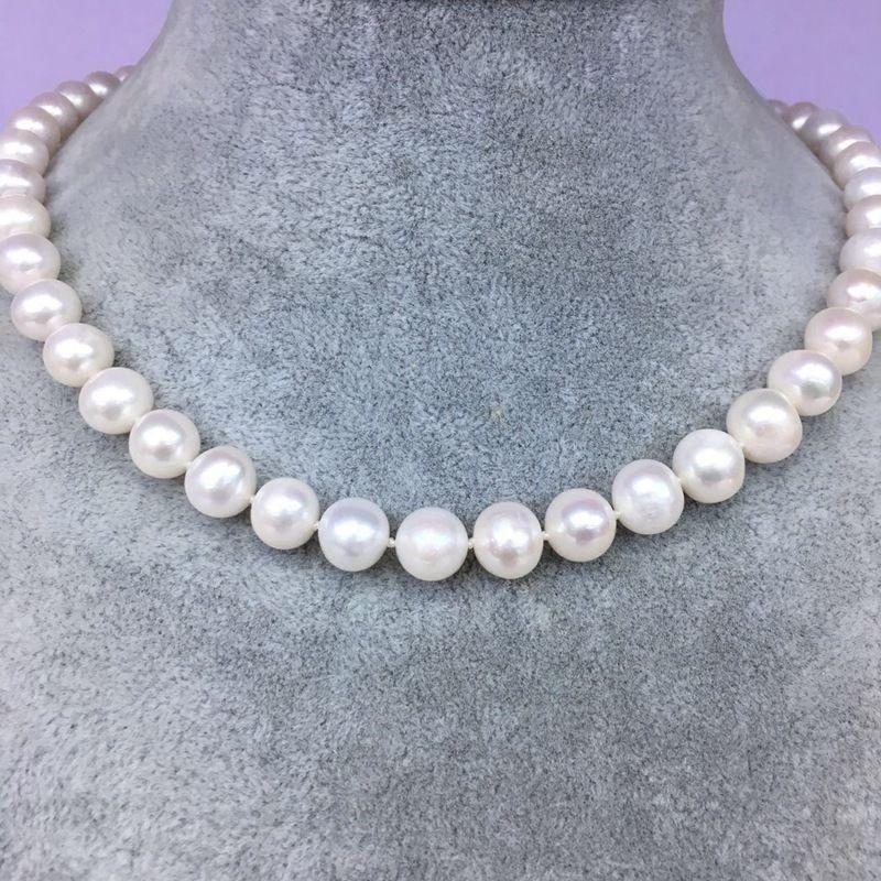 Collar de perlas de agua dulce natural de 9-10MM con collar de perlas blancas, longitud de 45cm