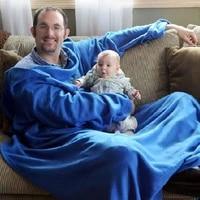 wearable blanket fleece blanket with sleeves super soft warm comfy large fleece plush sleeved tv throws wrap robe blanket
