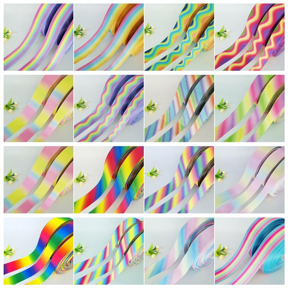 Nieuwe Diy 5 Yards 25Mm 38Mm 50Mm Regenboog Kleur Gradatie Gedrukt Grosgrain Lint Haar Boog Party Naaien glitter Craft