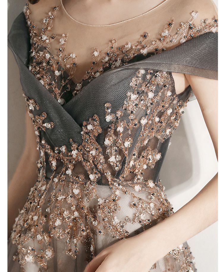 2020 Evening Dresses Sequined Elegant Long Abiye suknia wieczorowa Gray A Line Cap Sleeve Sweep Train Prom Gowns Walk Beside You