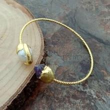 B092606 blanc Keshi perle violet brut 24 K jaune plaqué or Bracelet jonc