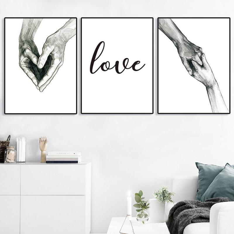 Настенный художественный постер Скандинавская Картина на холсте Laminas Para Cuadros плакаты и принты Lienzo Decorativo Tableaux ручная любовь