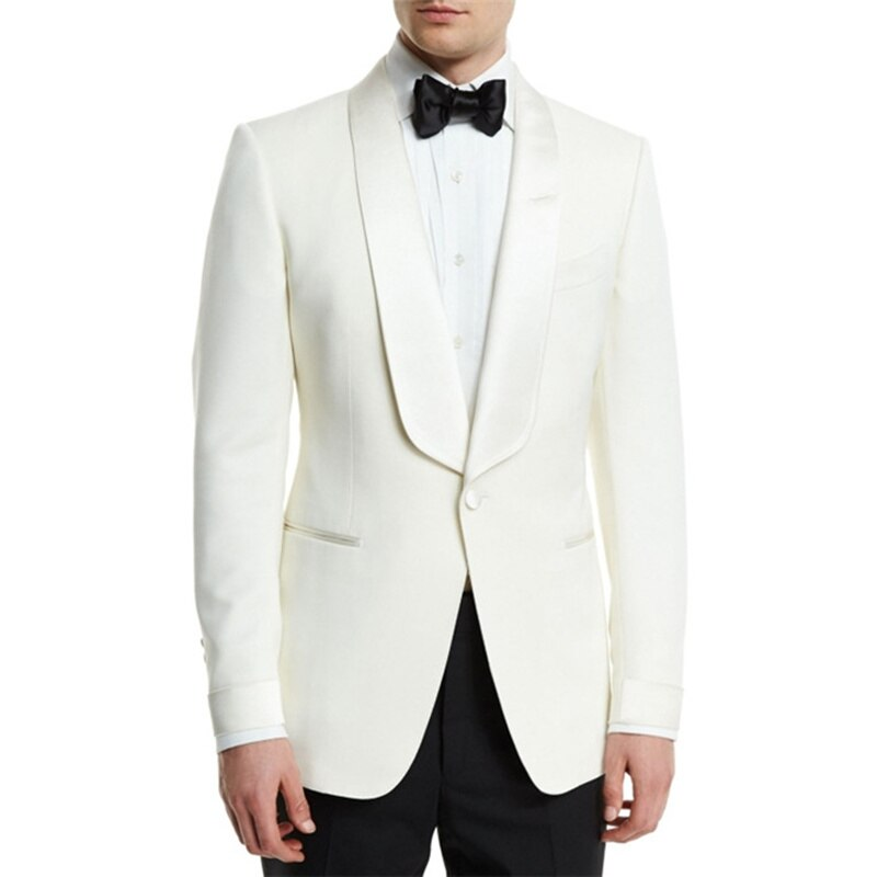 Handsome One Button Groomsmen Shawl Lapel Groom Tuxedos  Men Suits Wedding/Prom/Dinner Best Blazer(Jacket+Pants+Tie) 124