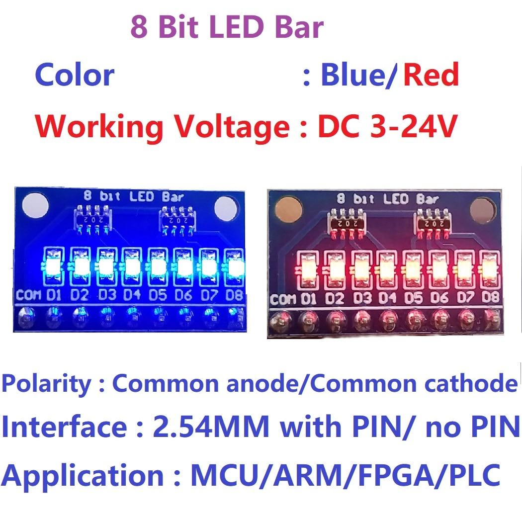 2 шт. 3-24 в 8 бит Синий/Красный общий анод/катод светодиодный индикатор модуль макет стартовый комплект плата для MCU ARM 3d принтер UNO MEGA
