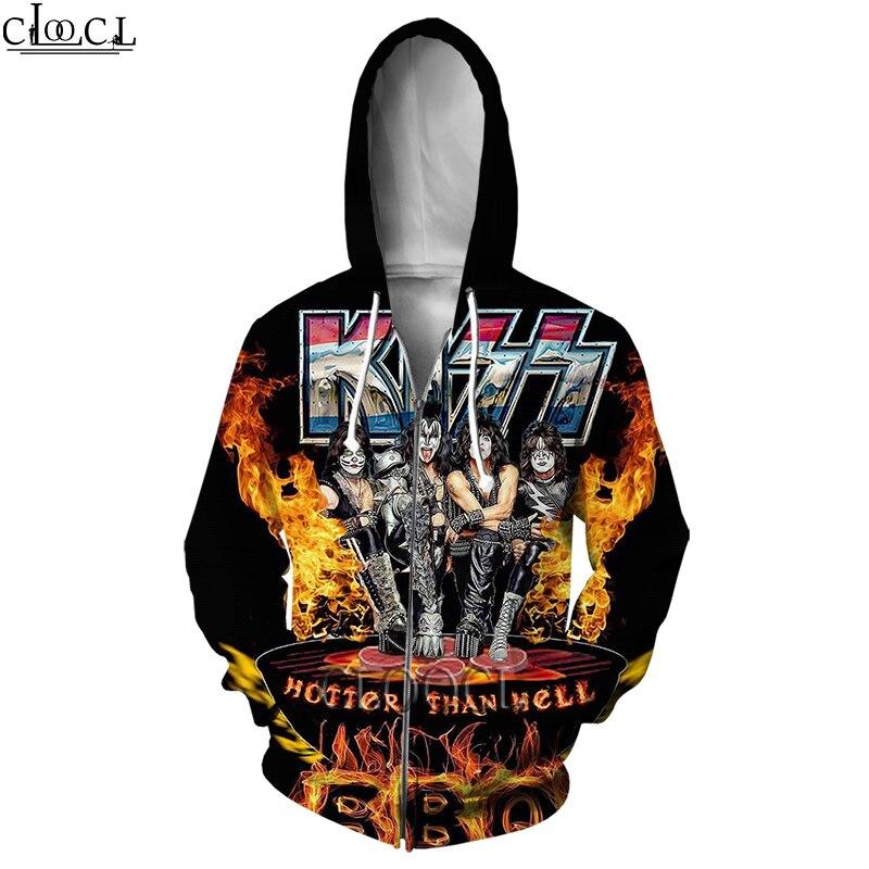 Худи HX на молнии для мужчин и женщин, уличная одежда с 3D-принтом рок Kiss Band, популярный пуловер унисекс в стиле хип-хоп, Харадзюку на молнии, то...
