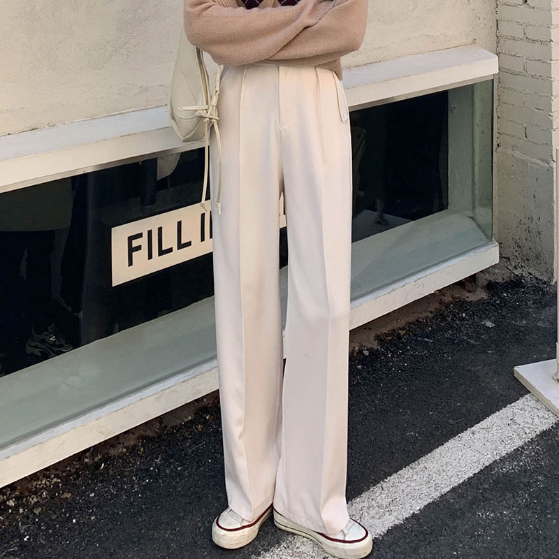Spring New Tailored Trousers Women High-Waist Solid Zip Pants Female Straight Casual Floor-Length Pants