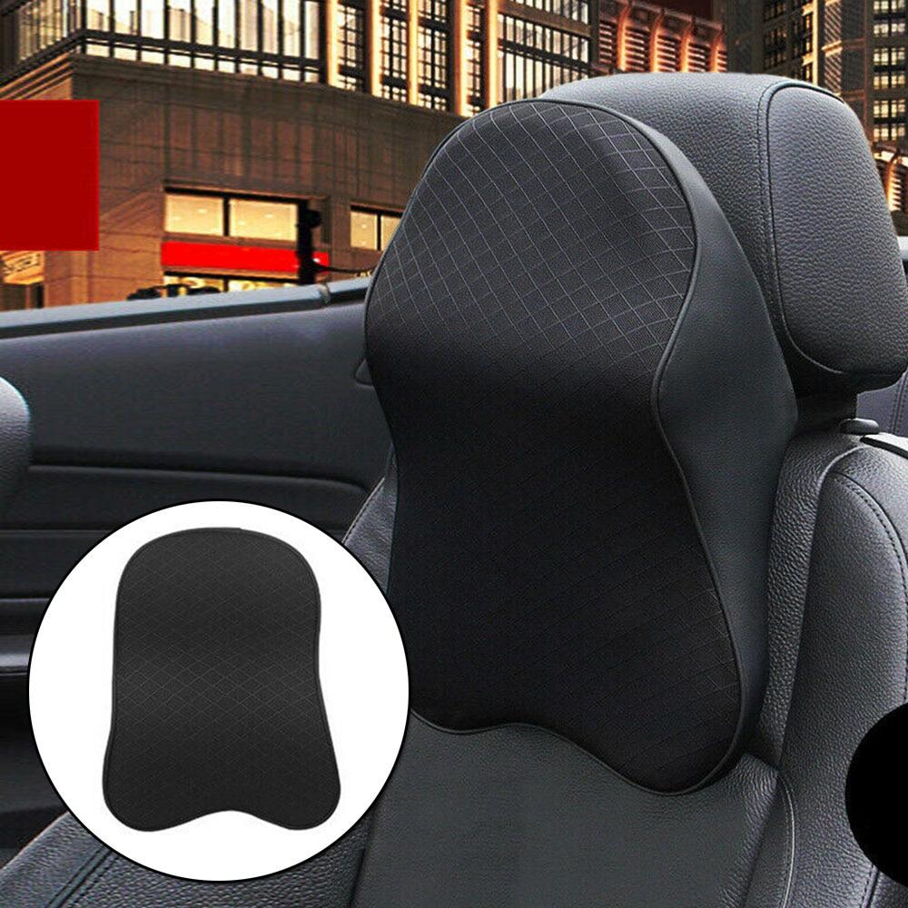 1X Car Seat Headrest Pad Memory Foam Pillow Head Neck Rest Support Cushion Black For Plane Train Bus
