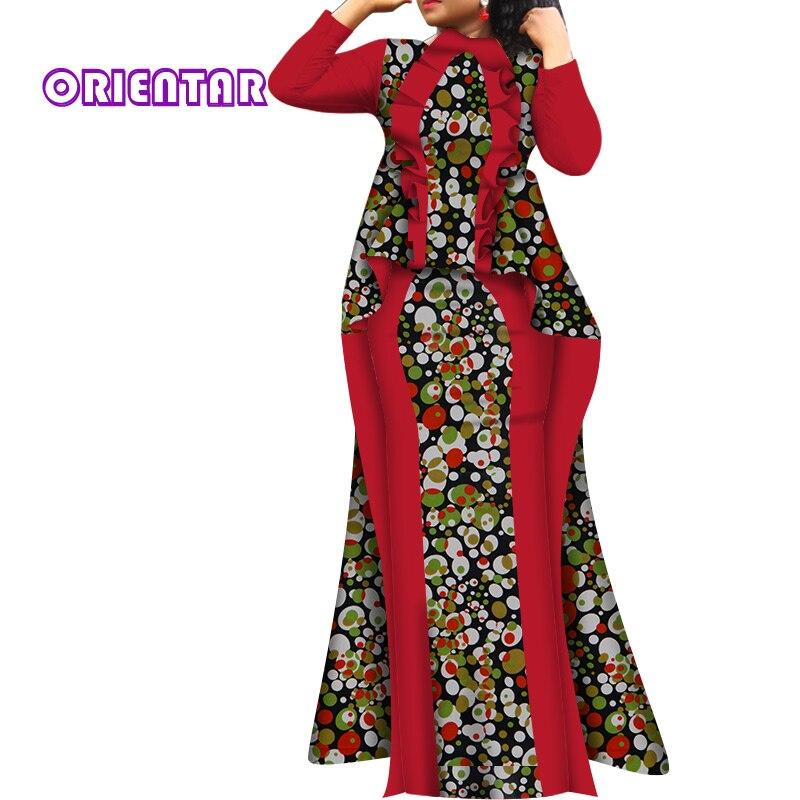 2 peças conjunto de moda feminina africano roupas impressão africano babados longos topos e saias das mulheres ancara conjunto de ternos africanos wy6025