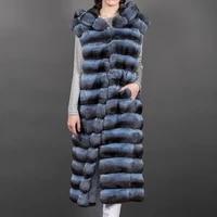 110cm long real rex rabbit fur vest with hood thick warm women fur outwear 2021 new fashion genuine rex rabbit fur vest natural