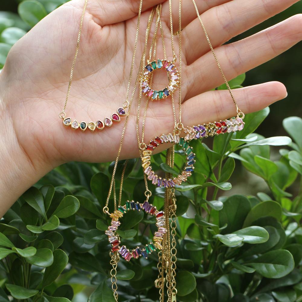 Moda cubic zirconia micro pave redondo/V/gota de agua multicolor collar de cadena larga diseño de lujo hip hop joyería para mujeres