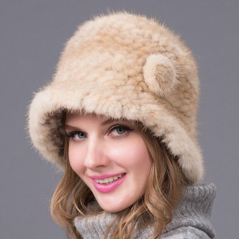 قبعة من الفرو للسيدات فرو المينك الطبيعي قبعات Ushanka الروسية قبعات شتوية سميكة ودافئة على شكل آذان أنيقة مع غطاء مفجر أسود وصل حديثًا