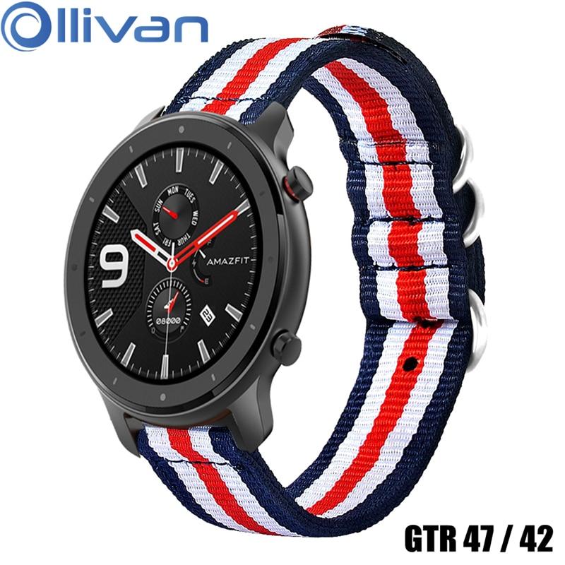OLLIVAN Nylon Wrist Strap For Xiaomi Amazfit GTR 47 42 Watch Band Sport Splice Canvas For Amazfit 47MM 42MM Watchband Metal Belt