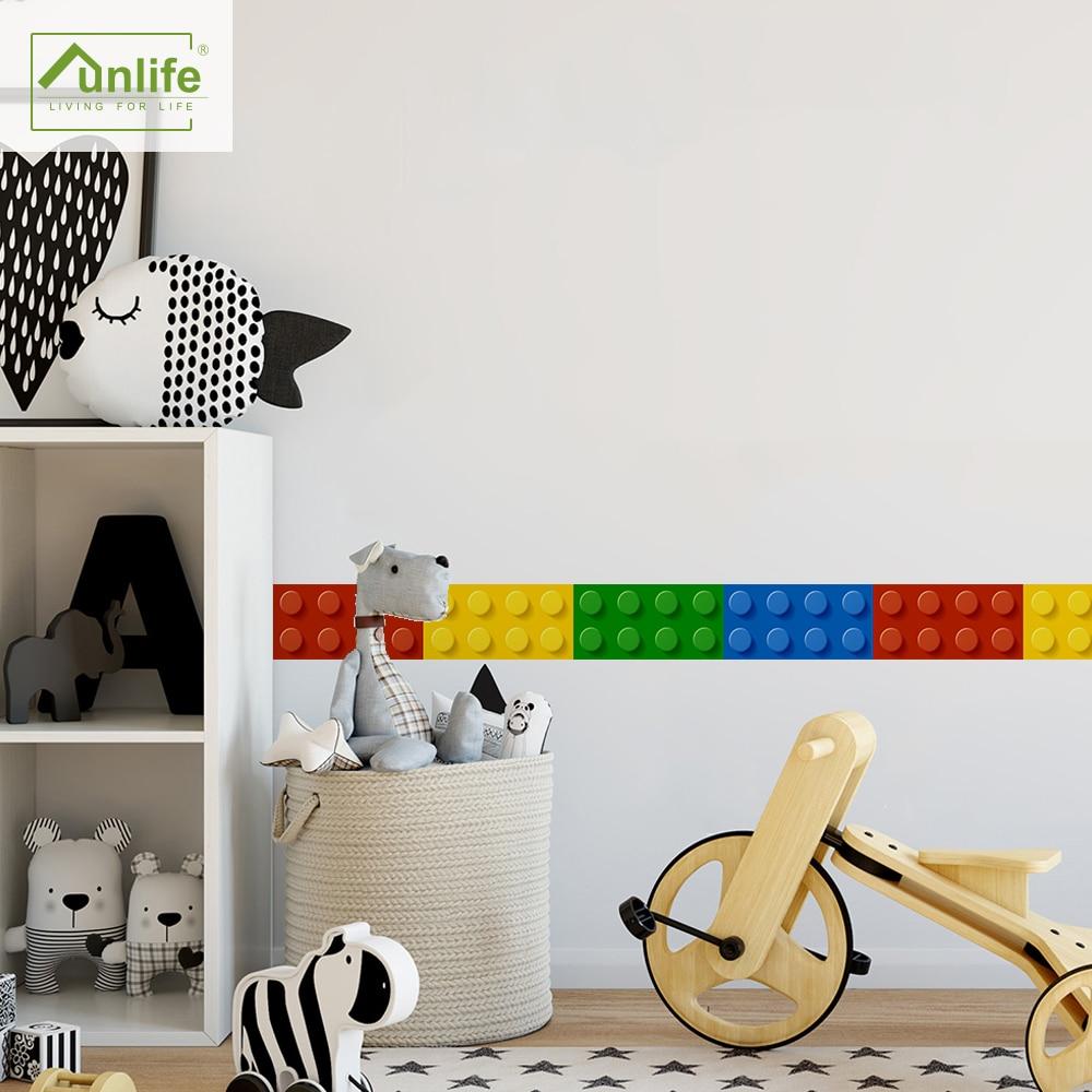 Funlife® Buildind Blocks Wall Border Waterproof  Peel & Stick TV Background Easy to Clean Self-Adhesive Colorful Modern Mosaic
