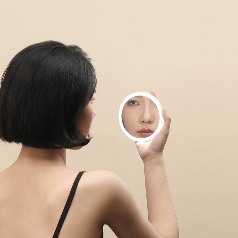 Beauty Portable Led Rechargeable Small Hand Mirror Makeup