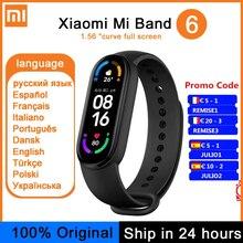 Оригинальный спортивный браслет Xiaomi Mi Band 6, фитнес-трекер с пульсометром и AMOLED экраном 1,56 дюйма, смарт-браслет Xiaomi Band 6 с поддержкой нескольки...