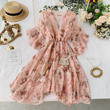 2019 new fashion womens dresses Holiday summer flare sleeve tie irregular floral chiffon