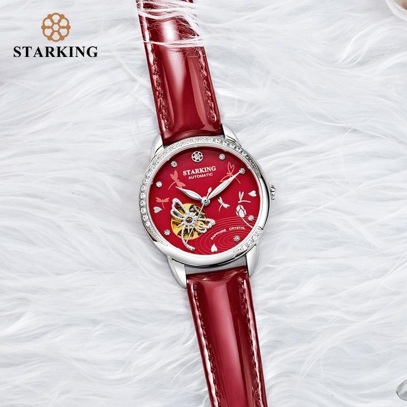 STARKING Women Skeleton Automatic Mechanical Watch Luxury Brand Sapphire White Case Genuine Leather Wristwatch Female Clock 5ATM enlarge