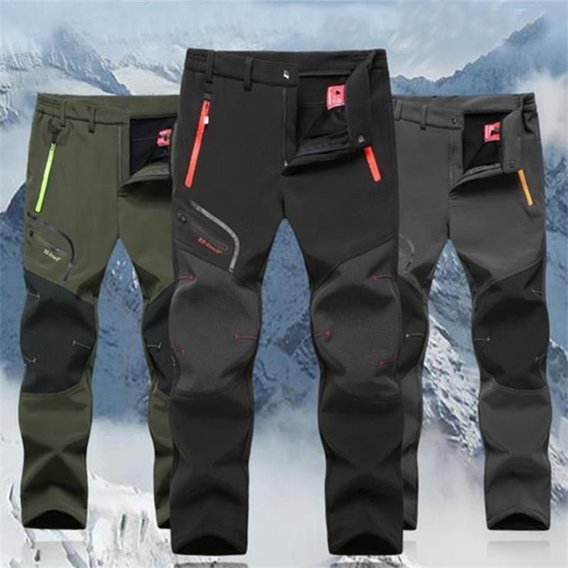Мужские зимние штаны, плотные теплые тактические походные брюки, мужские Стрейчевые флисовые штаны для рыбалки, уличные горные летние брюк...