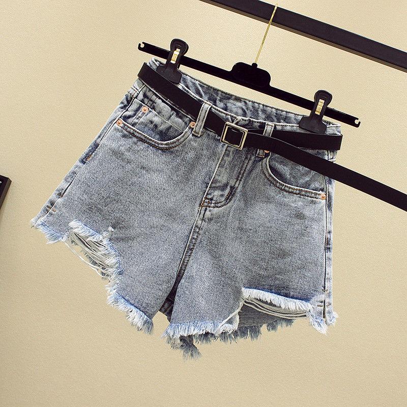 Women Summer Shorts New Style Ripped Hole Washed Denim High Waist Casual Fashion Irregular Wide-leg Jean Plus Size