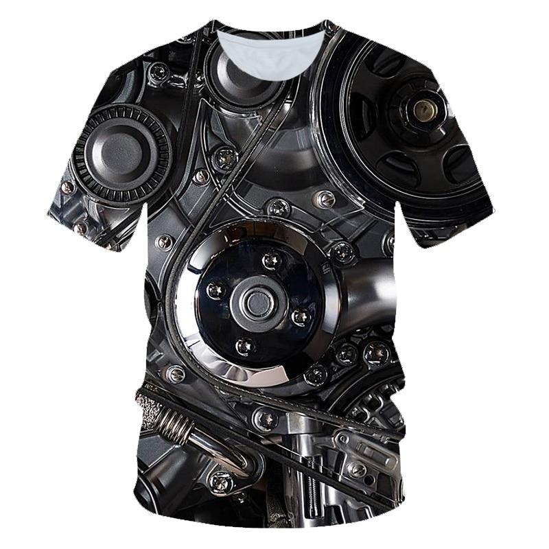 Summer 3D men's t-shirt Motorcycle internal T-shirt Punk Clothing Retro Clothes Mechanical Tshirt Tops Tees Men Funny 3d t-shirt