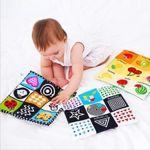 Baby Toys For Newborn Soft Cloth Book 0-24 Months Kids Learning Educational Black/White Cognition Ru